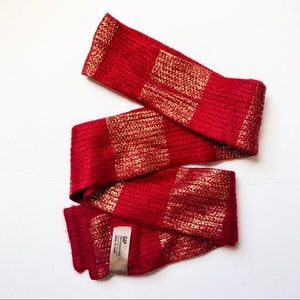 GAP red and metallic gold striped knit scarf